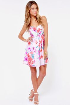 Roxy Shore Thing Neon Pink Floral Print Dress at LuLus.com!