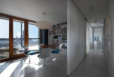 Barbican flat in London - TRU ARCHITECTS, Berlin, young, experimental, joint building venture. Mid-century Interior, Apartment Interior, Interior Architecture, Interior Design, Tower Apartment, Barbican, Living Spaces, Indoor, London