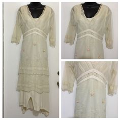 """ReducedNataya vintage dress size L This dress is a replica of the dress worn in the movie titanic... It's very georgeous!! Only reason for selling is because it's a bit tight on me. It has beautiful lace design. Length from shoulder to hem 57"""" Size L Na- ta- ya Dresses"""