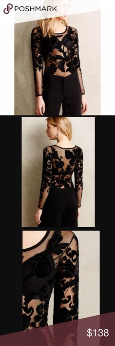 """NWOT Anthropologie Black Floral Bodysuit Leotard NWOT Floral Damask Bodysuit by Varun Bahl. Size 00P (Petite 20"""" L)  Retails for $248!  Brand New without Original Tag  Paired with denim or a party skirt, Varun Bahl's velvet-detailed bodysuit is an unexpected stunner. By Varun Bahl Nylon mesh Velvet burnout detail Snap closure Hand wash Imported Anthropologie Tops"""