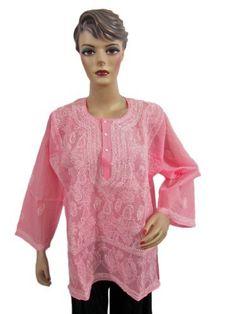 Bohemian Hot Pink White Embroidered Kurti Cotton Tunic Top Blouse Xl Mogul Interior, http://www.amazon.com/dp/B008L9FB2O/ref=cm_sw_r_pi_dp_LBuaqb0YAY59H