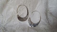 """Hammered Sterling Silver 925 Large Hoop Earrings Estate Find 1 3/4"""" Long  #Hoop"""