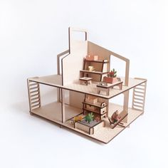 Flat pack wooden furniture for dolls house, very funny and easy to assemble. Ideal to play with playmobil, sylvanian, and other small doll (size
