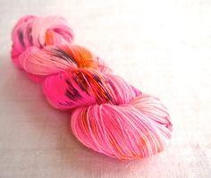 Pink Sass - Pink, Gold & Gray Sock Yarn, Hand Dyed Sock Yarn, Superwash Merino, Cashmere Sock Yarn, Hot Pink Sock Yarn, Mustard Sock Yarn