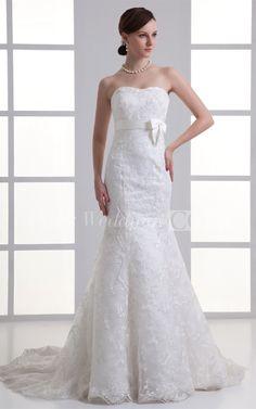 Simple Trumpet Sleeveless Satin Lace Sweetheart Wedding Dresses #Doris #Wedding #Wedding #Dresses