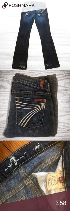 7 FAM Dojo Denim Jeans 7 FAM Dojo Denim Jeans Size 27 with a little stretch for a perfect comfy fit! Does have some wear/holes on the heels, pictured. Would be perfect if hemmed for a petite or shorter person, made into cut offs, or worn as is to tie together a specific look. Inseam is approximately 33 inches. Beautiful color and totally on trend! Let me know if you have any questions. 7 For All Mankind Jeans