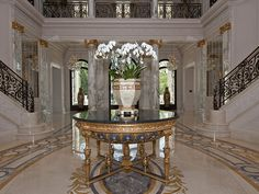 Architecture Luxury Interiors  | RosamariaGFrangini || Staircase and Foyer. 9577 Sunset Blvd | Beverly Hills, CA