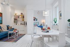 Lovely White Swedish Decor Picture listed in: white Apartment Design, white apartment and white Apartment Walls Shabby Chic Apartment, White Apartment, Small Apartment Design, Small Apartment Decorating, Apartment Interior, Small Apartments, Apartment Living, Apartment Ideas, Living Room