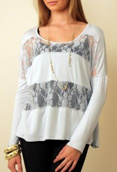 Add wide lace fabric strips to an existing oversized tee - or sew your own