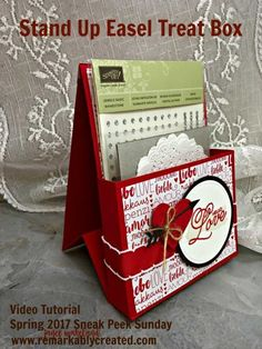 Stampin' UP! Spring 2017 Catalog – Sneak Peek Sunday – Stand Up Easel Valentine Treat Box #remarkablycreated #stampinup