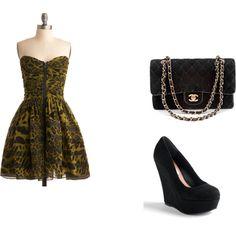 ModCloth dress, Chanel bag, black suede heels.