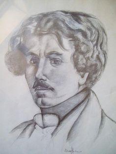 """Ritratto di """"Delacroix"""" eseguito a matita"""