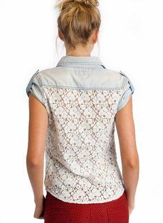 Replace the back of a denim shirt with lace.