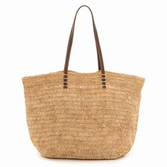 Raffia bag with leather straps