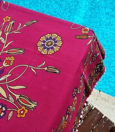 150x157cm Ottoman Floral Tile Patterned Colorful Deep Pink Tablecloth  Square Authentic Pom Pom Trims Traditional Handcrafted Turkish by JIJIMA on Etsy