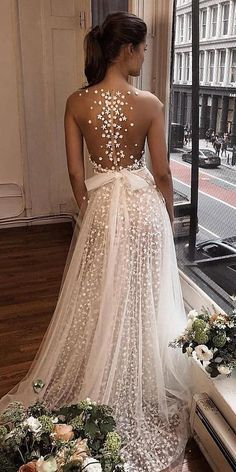 27 Stunning Trend: Tattoo Effect Wedding Dresses ❤️ tattoo effect wedding dresses a line illusion back with bow berta #weddingforward #wedding #bride