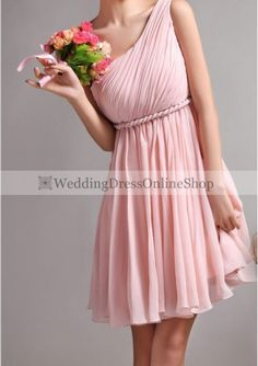 Wedding dress online shop - Chiffon One-Shoulder A-Line Style with Rope Form Bridesmaid Dress P-3238