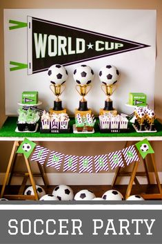 Throw your soccer fan a world cup themed birthday party complete with DIY centerpieces, soccer field pudding cups, and a customized party favor bag. @modernmoments will give you the step-by-step instructions on how to throw this soccer birthday party.