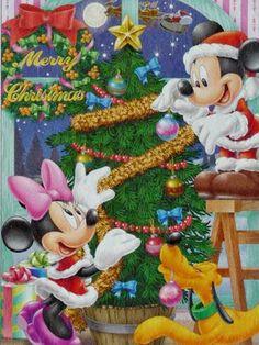 Merry Christmas from Mickey, Minnie and Pluto / Buon Natale da Minnie, Topolino e Pluto Disney Merry Christmas, Mickey Mouse Christmas, Mickey Mouse And Friends, Mickey Minnie Mouse, Christmas Books, Christmas Images, Christmas Wishes, Disney Mickey, Christmas Fun
