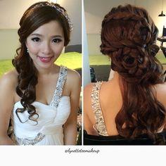 Wedding dinner make up & hairdo, pretty bride of the day: Moon❤️