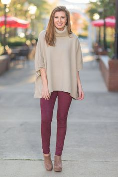 """""""Want It All Leggings, Burgundy"""" There is no doubt in our minds that you are gong to want these leggings and all they offer! They are so trendy! The faux suede fabric is unbeatable when it comes to softness and style! #newarrivals #shopthemint"""