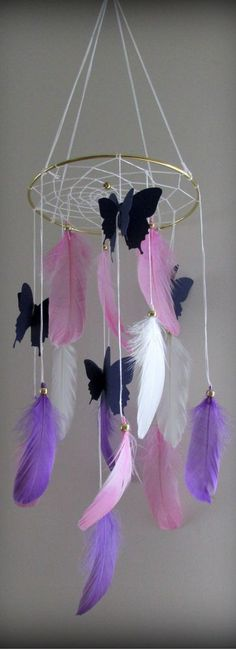 Live butterfly kit sweetie pie nursery erfly room decor for s delighful baby girl bedroom ideas Purple Dream Catcher, Dream Catcher Mobile, Dream Catchers, Kids Crafts, Diy And Crafts, Arts And Crafts, Butterfly Kit, Mobile Craft, Girl Baby Shower Decorations