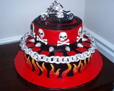 Sell New And Motorcycle Cake Red Motorbike Table Decorations From