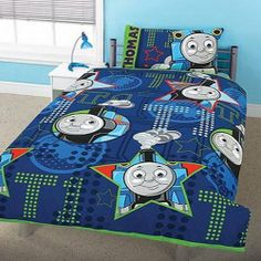Kids/Childrens Thomas the Tank Engine All Aboard Design Bedding Duvet Cover Set and Pillow Case (Twin Bed) (Navy) by Thomas the Tank Engine. $78.75. Quality Bedding Set.. 50% cotton, 50% polyester .. Pillowcase Size 50cm x 75cm (19in x 29in).. Official Licensed product.. Duvet Size 137cm x 200cm (54in x 78in).. Please note: This product is a UK import, this duvet cover supplied is slightly smaller than the standard US duvet size, it will fit but the duvet may fold at the edge...