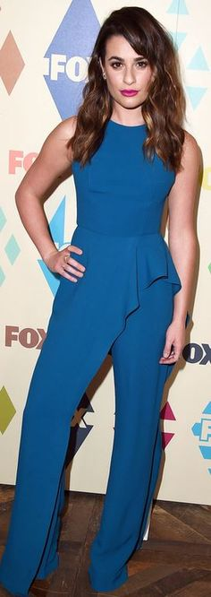 Lea Michele in Jumpsuit – Elie Saab  Shoes – Brian Atwood