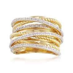 .25 ct. t.w. Diamond Highway Ring in 18kt Yellow Gold Over Sterling Silver | #820596 @ ross-simons.com