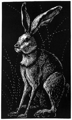 'Hare' by Deborah Harris (linocut)