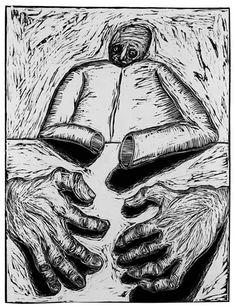 """Untitled, (Monster Hands) linocut, 15.5"""" x 12"""" 1983 fjetter@earthlink.net"""