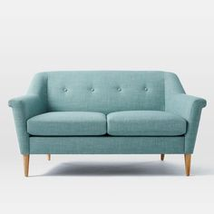 "Finn Sofa | west elm.   Fabric and Color: Heathered Weave, Eucalyptus. Size: 60.5"".  SofaDelivery: Special Order(10-12 Weeks)"