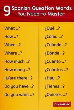 9 Spanish question words you need to master. 9 Spanish question words you need to master. Spanish Help, Spanish Notes, Spanish Lessons For Kids, Learn To Speak Spanish, Spanish Basics, Spanish English, Learn English, Spanish Art, Spanish Lesson Plans