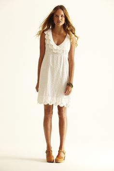 Shireen Eyelet Dress: Cotton, on sale, XS/S only, $99.00, also in navy, anise and kelly green.