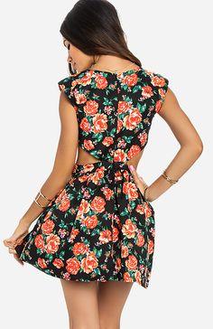 Rose Cutout Dress in Black | DAILYLOOK