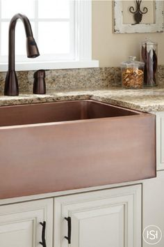 Remodeling you country kitchen? This farmhouse style sink features smooth texture, earthy tones, and a beautiful finish. Made with quality craftsmanship and solid copper, it is sure to lend both aesthetic value and functionality to your kitchen.