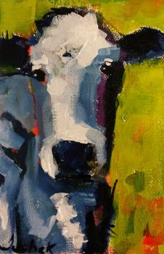 """cow painting, cow art, """"Sarah"""" - a daily painting by Lisa Tuchek"""