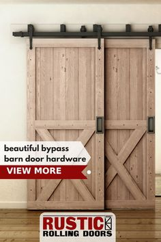 Not enough space for a single track barn door hardware kit? Browse our selection… Not enough space for a single track barn door hardware kit? Browse our selection of beautiful bypass barn door hardware kits - Door Exterior Door Hardware, Bypass Barn Door Hardware, Barn Door Handles, Barn Door In House, Barn Door Closet, Barn Door Track, Garage Door Design, Garage Doors, Sliding Pantry Doors