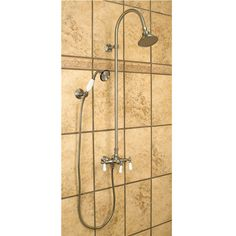Exposed Pipe Shower With Hand Shower - Shower Systems - brushed nickle Shower - Bathroom Shower Faucet, Shower Tub, Shower Heads, Master Bathroom Layout, Modern Bathroom Sink, Bathroom Ideas, Handicap Bathroom, Attic Bathroom, Bath Ideas