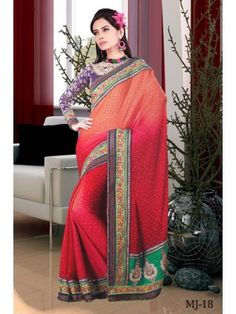 Aara Red & Orange Colour Semi Georgette Saree MJ-18