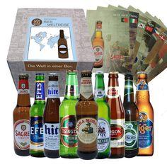 9 BIERE DER WELT - Das Geschenkset enthält: Sagres - Birra Moretti - HITE - Tsingtao - Saigon - Tuborg - Efes - Tiger - Wicküler Box, Beer Bottle, Drinks, 40 Birthday, Gifts For Birthday, Wrapping Gifts, Father, Packaging, Drink