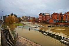 Flooding in Reading, England 2014. Across portions of the south of England, waves lap against the shores of lakes and ponds that used to be fields, as one of the wettest winters in U.K. history has dumped successive bouts of rain over the country, causing rivers to top their banks and inundate farms and towns.