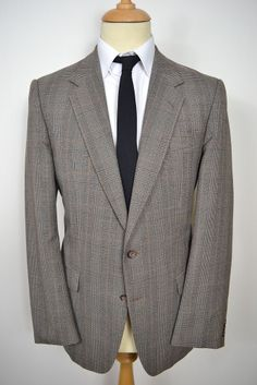 VINTAGE 1980s BROWN CHECK ALLANDER WOOL BLAZER JACKET LARGE 42 REGULAR