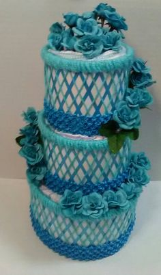 AMAZING! Turquoise Blue Elegant Easter/Spring 3 Tier BABY DIAPER CAKE/beads/flowers GORGEOUS!