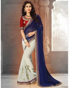 White and blue colour saree with heavy embroidery...