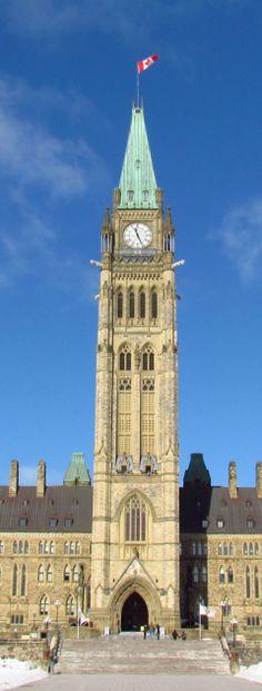 Hautement historique, la Peace Tower - (officiellement appelée la Tour de la Victoire et de la Paix) Ottawa, Canada.