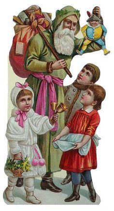Die cut Santa Claus Christmas card, made in England