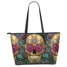 Ewa Classic Sugar Skull Dia De Los Muertos Women's Leather Tote Shoulder Bags Handbags - My Sugar Skulls