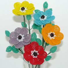 Very colorful french beaded pavilion flowers.